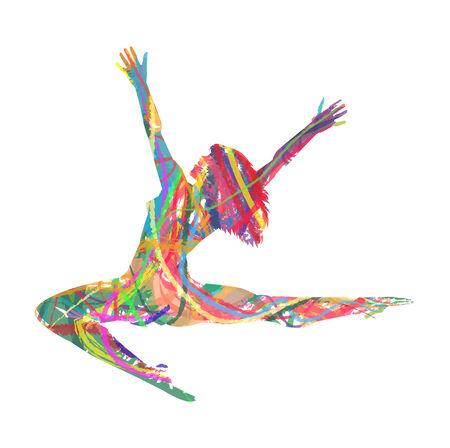 ダンサーのシルエットを後ろから抽象化します。