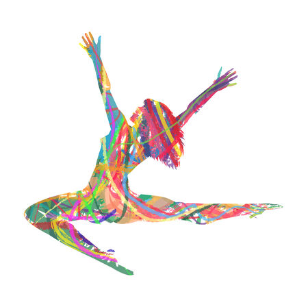 abstract silhouette of dancer from behind Illustration