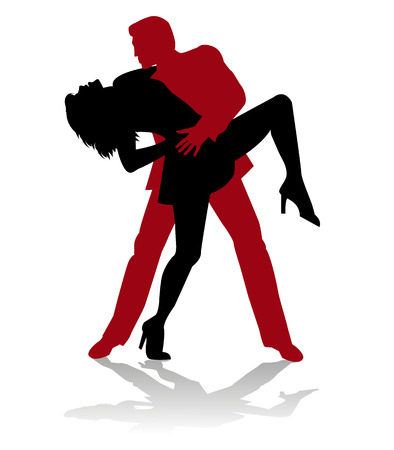 ballroom dancing: vector dancer tango silhouette Illustration