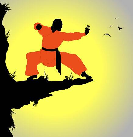 monaco shaolin exercising on a cliff