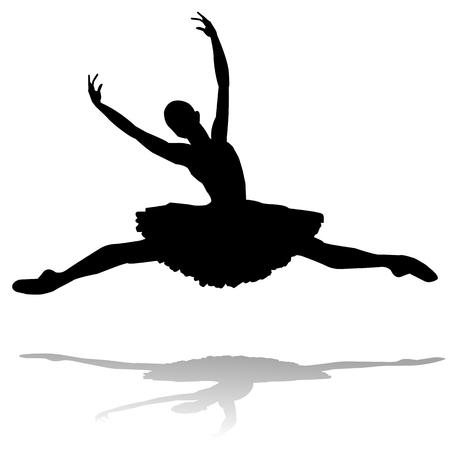 ballet silhouette: dancer silhouette on white background Illustration