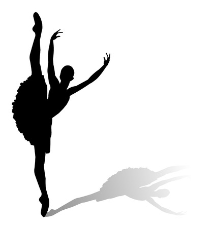 dancer silhouette on white background Vectores