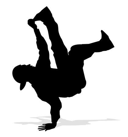 hip hop dancer: hip hop dancer silhouette Illustration
