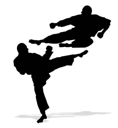 self defense: hombres karate silueta Vectores