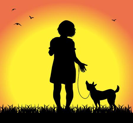 kleines M�dchen mit ihrem Hund Illustration