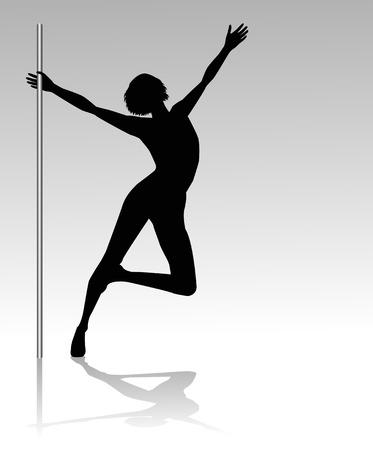 pole dancer silhouettes Illustration