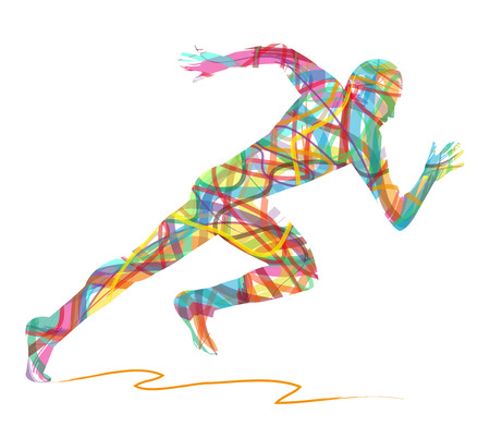 abstract silhouette of man running Çizim