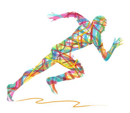 Silhueta abstrata do homem running