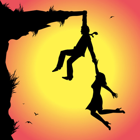 symbolic illustration, man and woman on the precipice