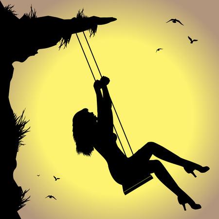 pendular: silhouette of woman on swing