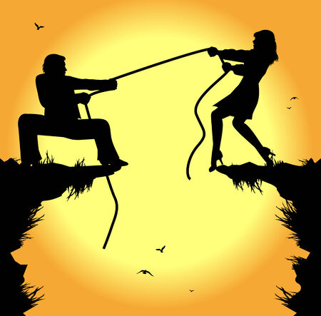 litigation: symbolic illustration, tug of war between man and woman
