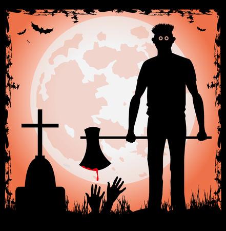 Mann mit Axt in der Halloween-Nacht und Vollmond