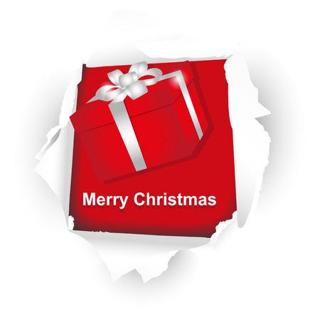 mo�o blanco: paquete rojo de Navidad con lazo blanco