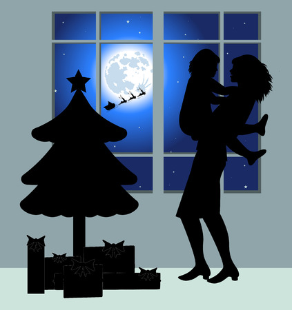 maternal: Mom and daughter silhouette in the night of Christmas Eve Illustration