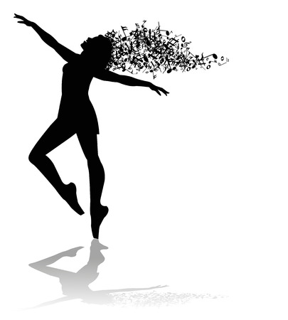 silhouette of dancer and musical notes