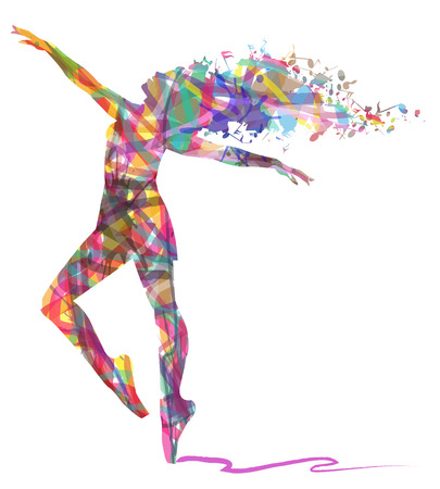 abstract dance: silhouette of abstract dancer and musical notes