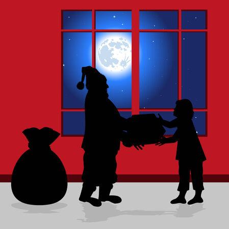 Weihnachtsmann mit einem Geschenk f�r ein Kind