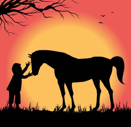 馬のふれあい子供のシルエット  イラスト・ベクター素材