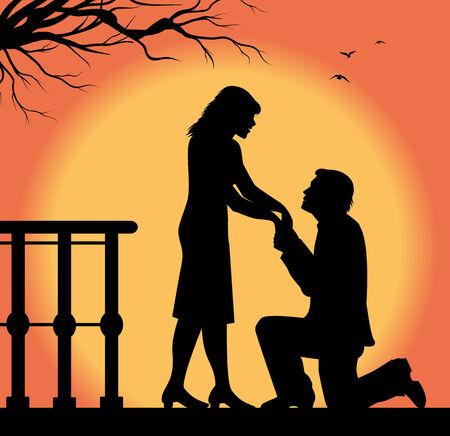 declaration of love: man silhouette that makes a love declaration