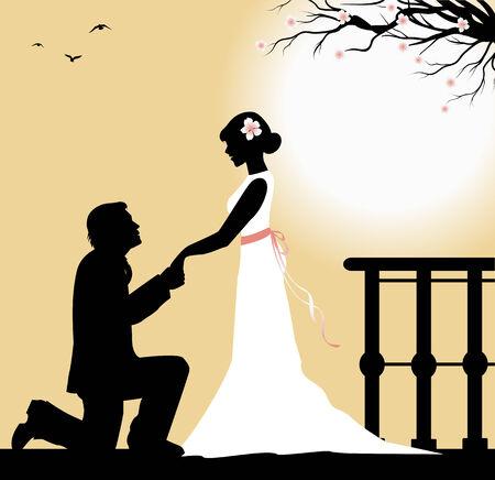 recurrence: groom kneeling in front of the bride
