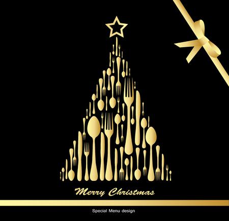 黒の背景にクリスマス メニュー