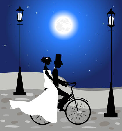 Wedding couple ride a bicycle and fullmoon Ilustrace