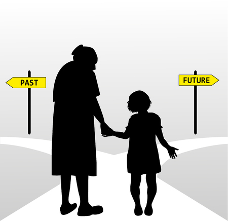 que: symbolic illustration of old woman Accompanying a child