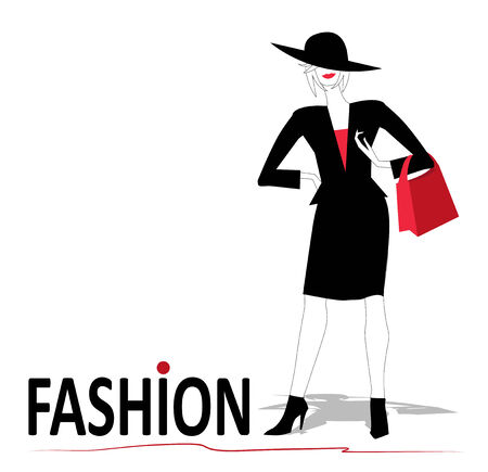 woman s bag: Woman in black with red purse on white background Illustration