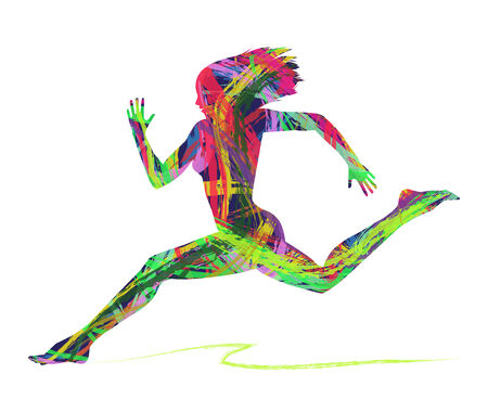 abstract silhouette of woman running