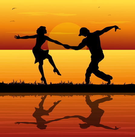 woo: pair of dancers on the beach at sunset Illustration
