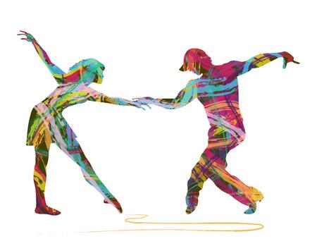 抽象的な色から成っているダンサーのペア