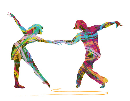 woo: pair of dancers made up of abstract colors Illustration