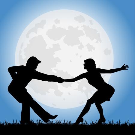 オープンエア: 満月の下でダンサーのシルエット