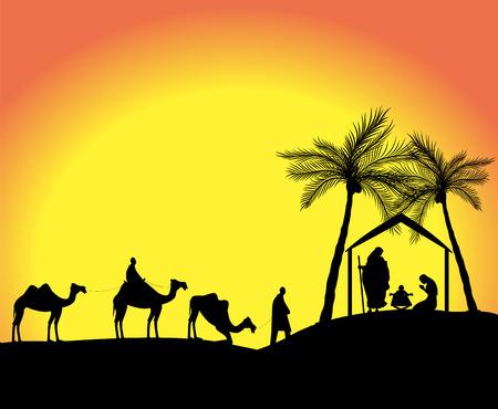사막에서 세 현명한 남자와 탄생 장면 실루엣 일러스트