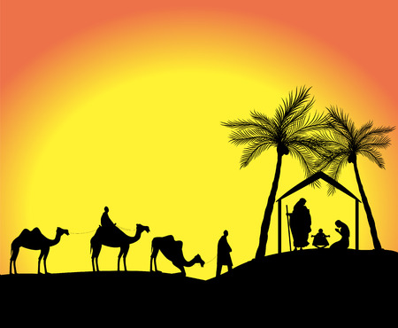 silhouette of the nativity scene with the three wise men in the desert