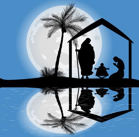 innate: silhouette del presepe e la luna piena