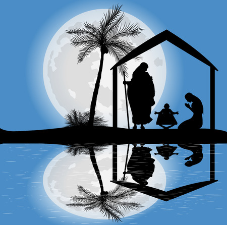silhouette of the nativity scene and full moon
