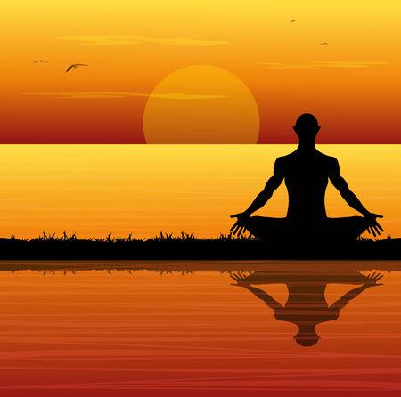 Silhouette der Mann meditiert am Strand