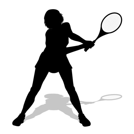 tennis player silhouette on a white background Illustration