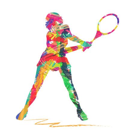 白い背景の上の抽象的なテニス プレーヤーのシルエット  イラスト・ベクター素材