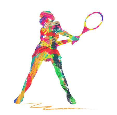 abstract tennis player silhouette on a white background Vector
