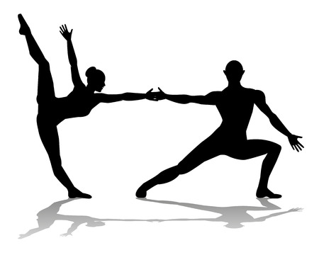 ballet dancer: Silhouettes of dancers on a white background