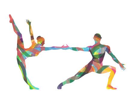 白い背景の上のダンサーのシルエット