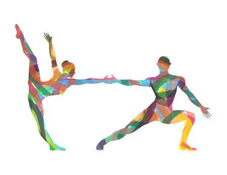 Silhouettes of dancers on a white background