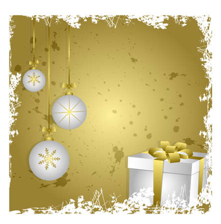 Christmas card with gift box over golden background Illustration