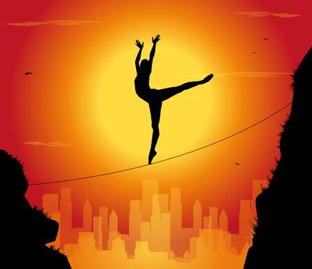 tightrope walker: silhouette of dancer tightrope walker