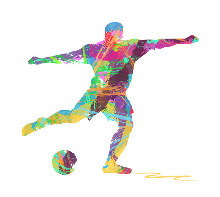 abstract silhouette of soccer player Illustration