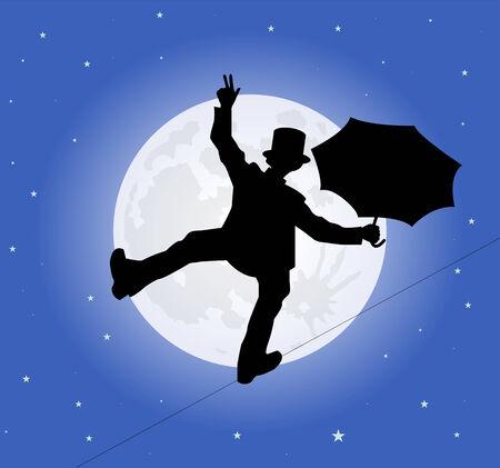tightrope: silhouet van een koorddanser in het maanlicht Stock Illustratie