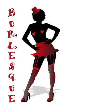 silhouette of burlesque dancer Illustration