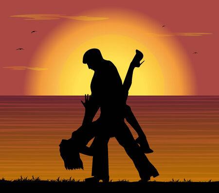 playbill: couple dancing the tango at sunset